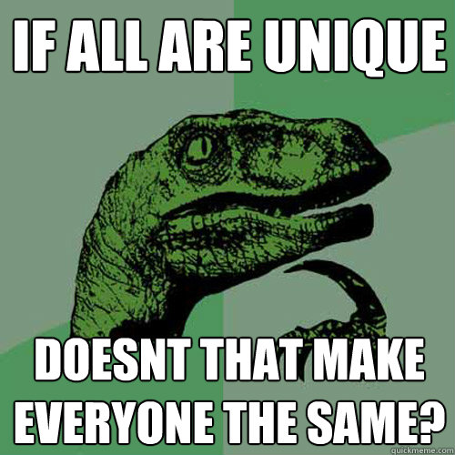 IF ALL ARE UNIQUE DOESNT THAT MAKE EVERYONE THE SAME? - IF ALL ARE UNIQUE DOESNT THAT MAKE EVERYONE THE SAME?  Philosoraptor