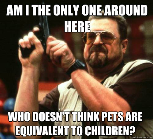 AM I THE ONLY ONE AROUND HERE WHO DOESN'T THINK PETS ARE EQUIVALENT TO CHILDREN?