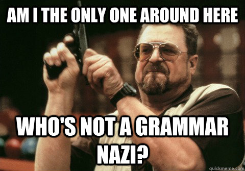 Am I the only one around here Who's not a grammar nazi? - Am I the only one around here Who's not a grammar nazi?  Am I the only one