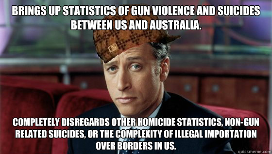 Brings up statistics of gun violence and suicides between US and Australia. Completely disregards other homicide statistics, non-gun related suicides, or the complexity of illegal importation over borders in US.