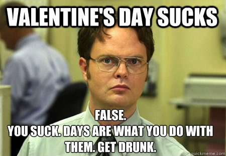 Valentine's Day Sucks False. You suck. Days are what you do with them. get drunk.  Schrute