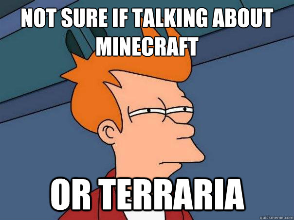 Not sure if talking about minecraft Or terraria - Not sure if talking about minecraft Or terraria  Futurama Fry
