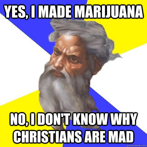yes, i made marijuana  no, i don't know why Christians are mad - yes, i made marijuana  no, i don't know why Christians are mad  Advice God