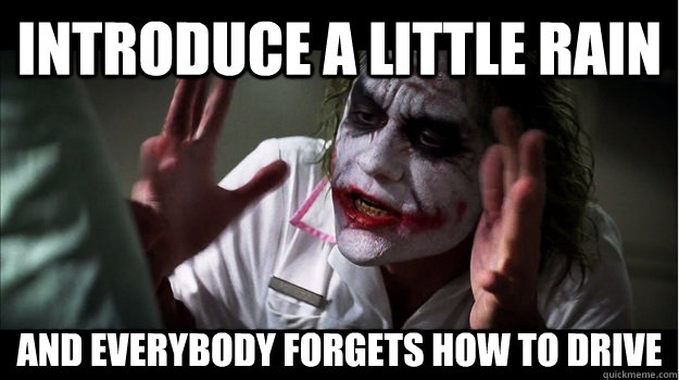 Introduce a little rain and everybody forgets how to drive  Joker Mind Loss