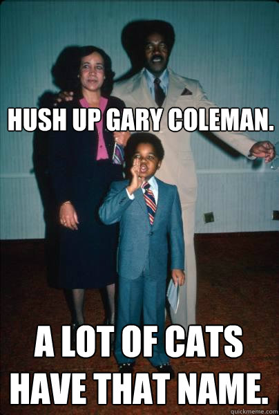 hush up gary coleman. A lot of cats have that name.  black dynamite gary coleman