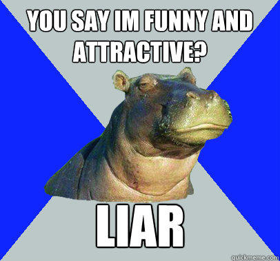 You say im funny and attractive? liar  Skeptical Hippo