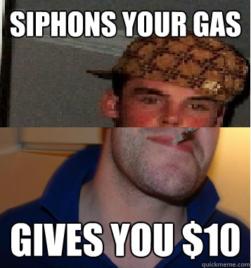 siphons your gas gives you $10