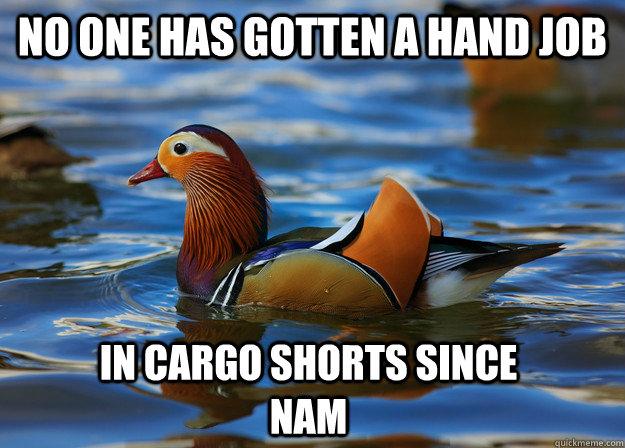 5ba48ec99f4370e579137e08e7d485aa59d0cc3d02819cef767650ce64785e30 no one has gotten a hand job in cargo shorts since nam fashion,Cargo Shorts Meme