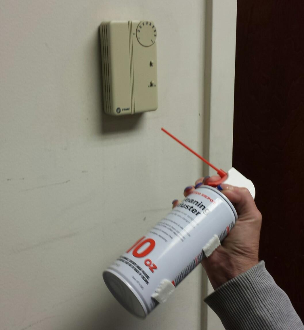 Our office doesn't let us adjust the thermostat, but my coworker figured out a workaround when she's cold. -   Misc