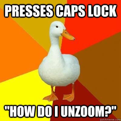 presses caps lock