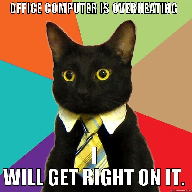 Problem solver - OFFICE COMPUTER IS OVERHEATING  I WILL GET RIGHT ON IT. Business Cat