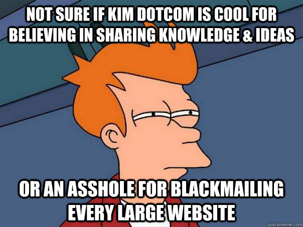 Not sure if Kim Dotcom is cool for believing in sharing knowledge & ideas or an asshole for blackmailing every large website - Not sure if Kim Dotcom is cool for believing in sharing knowledge & ideas or an asshole for blackmailing every large website  Futurama Fry