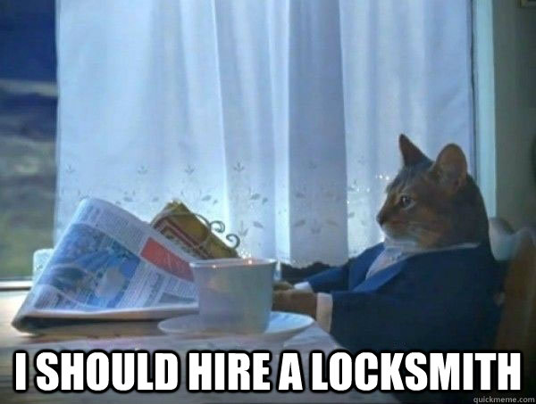 I should hire a locksmith -  I should hire a locksmith  morning realization newspaper cat meme