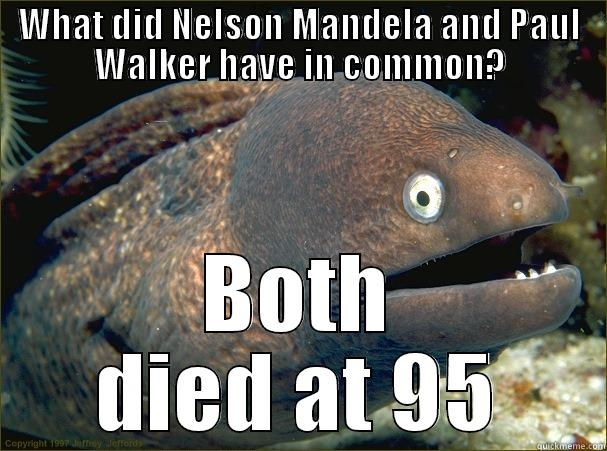 What did Nelson Mandela and Paul Walker have in common? - WHAT DID NELSON MANDELA AND PAUL WALKER HAVE IN COMMON? BOTH DIED AT 95 Bad Joke Eel
