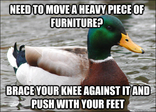 need to move a heavy piece of furniture? brace your knee against it and push with your feet - need to move a heavy piece of furniture? brace your knee against it and push with your feet  Actual Advice Mallard