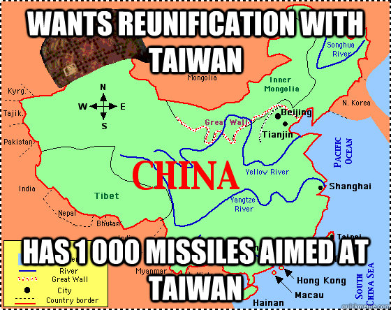 wants reunification with taiwan has 1 000 missiles aimed at taiwan