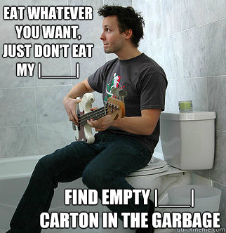 eat whatever you want, just don't eat my |____| find empty |___| carton in the garbage