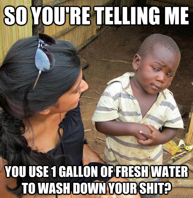 So you're telling me you use 1 gallon of fresh water to wash down your shit? - So you're telling me you use 1 gallon of fresh water to wash down your shit?  Third World Skeptic Kid