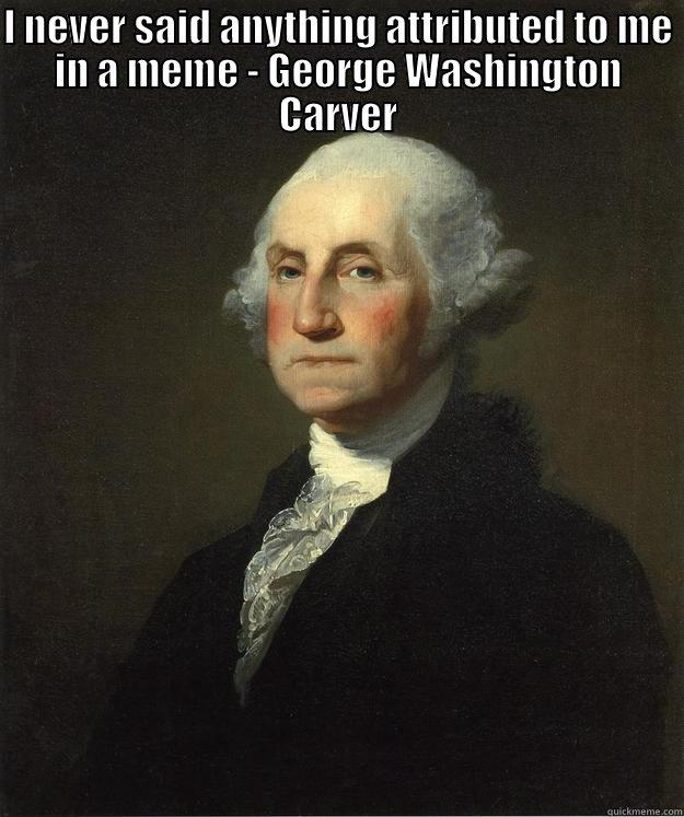 Incorrect Meme - I NEVER SAID ANYTHING ATTRIBUTED TO ME IN A MEME - GEORGE WASHINGTON CARVER  George Washington