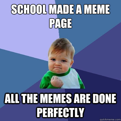 School made a meme page All the memes are done perfectly - School made a meme page All the memes are done perfectly  Success Kid