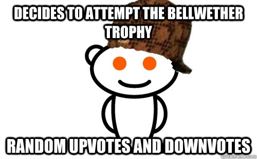 Decides to attempt the bellwether trophy random upvotes and downvotes