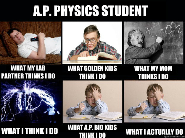 A.P. Physics Student What my lab partner thinks I do What Golden kids think I do What my mom thinks I do What I think I do What A.P. Bio kids think I do What I actually do - A.P. Physics Student What my lab partner thinks I do What Golden kids think I do What my mom thinks I do What I think I do What A.P. Bio kids think I do What I actually do  Misc