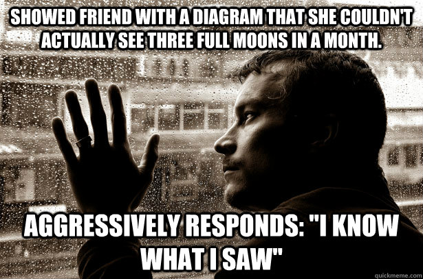 Showed friend with a diagram that she couldn't actually see three full moons in a month. Aggressively responds: