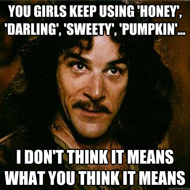 You girls keep using 'honey', 'darling', 'sweety', 'pumpkin'... I don't think it means what you think it means  Inigo Montoya