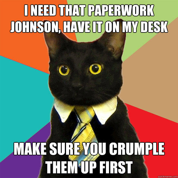 i NEED THAT PAPERWORK JOHNSON, HAVE IT ON MY DESK MAKE SURE YOU crumple them up first - i NEED THAT PAPERWORK JOHNSON, HAVE IT ON MY DESK MAKE SURE YOU crumple them up first  Business Cat