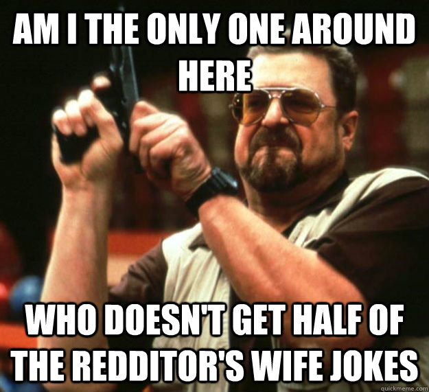AM I THE ONLY ONE AROUND HERE who doesn't get half of the redditor's wife jokes - AM I THE ONLY ONE AROUND HERE who doesn't get half of the redditor's wife jokes  Am I the only one around here1