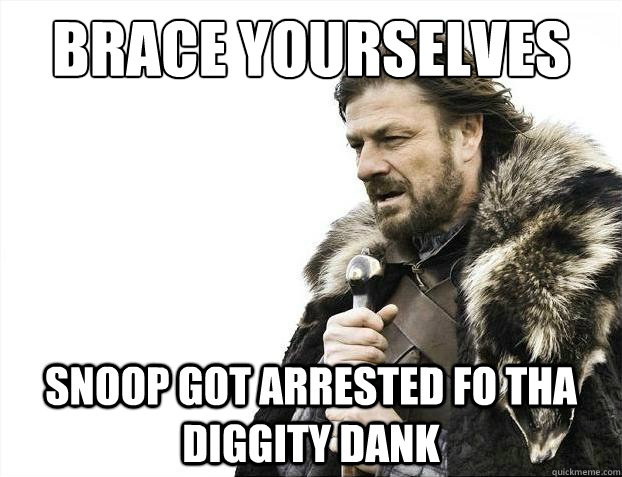 Brace yourselves Snoop got arrested fo tha diggity dank