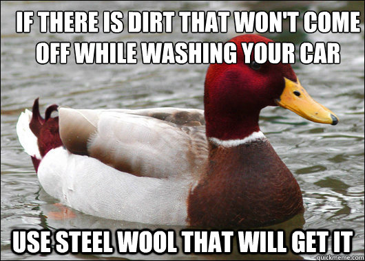 If there is dirt that won't come off while washing your car  Use steel wool that will get it  - If there is dirt that won't come off while washing your car  Use steel wool that will get it   Malicious Advice Mallard