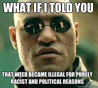 what if i told you That weed became illegal for purely racist and political reasons - what if i told you That weed became illegal for purely racist and political reasons  Matrix Morpheus