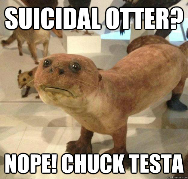 Suicidal Otter? Nope! Chuck Testa  betrayed otter
