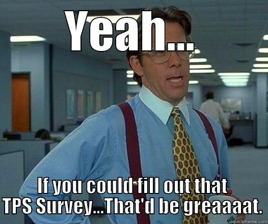 YEAH... IF YOU COULD FILL OUT THAT TPS SURVEY...THAT'D BE GREAAAAT. Office Space Lumbergh