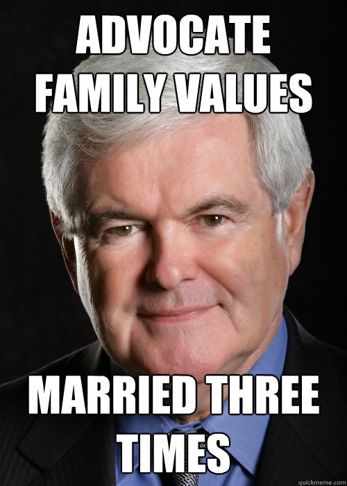 advocate family values married three times