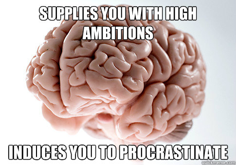 supplies you with high ambitions induces you to procrastinate - supplies you with high ambitions induces you to procrastinate  Scumbag Brain