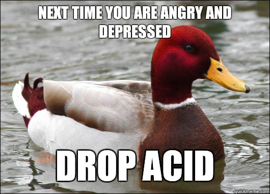 Next time you are angry and depressed  Drop acid - Next time you are angry and depressed  Drop acid  Malicious Advice Mallard