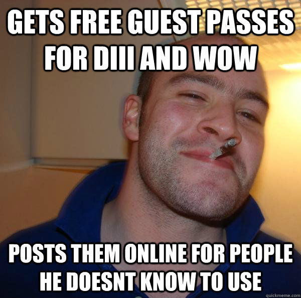 Gets free guest passes for Diii and wow posts them online for people he doesnt know to use - Gets free guest passes for Diii and wow posts them online for people he doesnt know to use  Misc