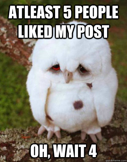 atleast 5 people liked my post oh, wait 4 - atleast 5 people liked my post oh, wait 4  Depressed Baby Owl
