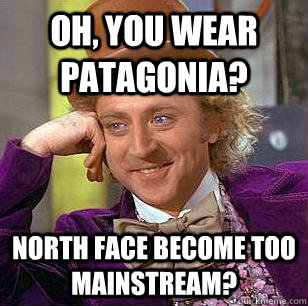 Oh, You Wear Patagonia? North Face become too mainstream?  Condescending Wonka