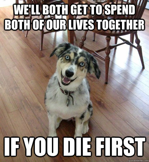 We'll both get to spend both of our lives together if you die first - We'll both get to spend both of our lives together if you die first  Overly Attached Dog
