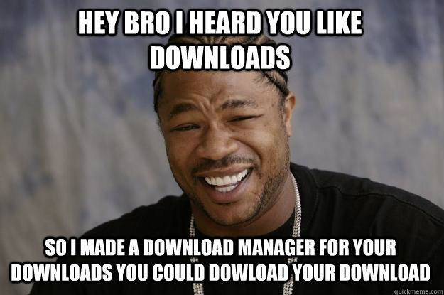 Hey bro i heard you like downloads so i made a download manager for your downloads you could dowload your download - Hey bro i heard you like downloads so i made a download manager for your downloads you could dowload your download  Xzibit meme