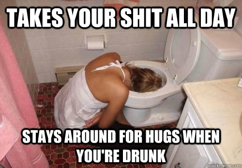 Takes your shit all day Stays around for hugs when you're drunk