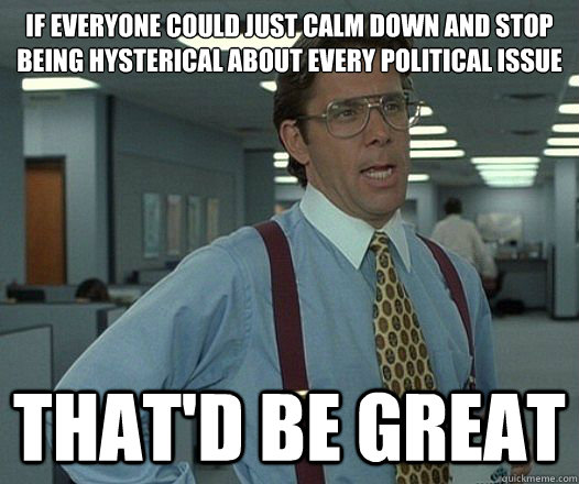 if everyone could just calm down and stop being hysterical about every political issue That'd be great - if everyone could just calm down and stop being hysterical about every political issue That'd be great  Misc