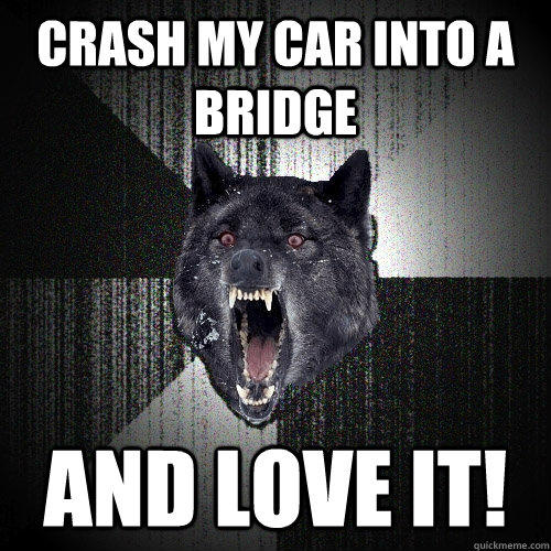 Crash my car into a bridge and love it! - Crash my car into a bridge and love it!  Insanity Wolf