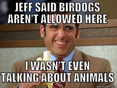 JEFF SAID BIRDOGS AREN'T ALLOWED HERE I WASN'T EVEN TALKING ABOUT ANIMALS Brick Tamland
