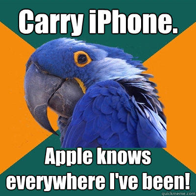 Carry iPhone. Apple knows everywhere I've been! - Carry iPhone. Apple knows everywhere I've been!  Paranoid Parrot