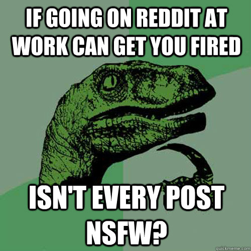 If going on reddit at work can get you fired isn't every post NSFW? - If going on reddit at work can get you fired isn't every post NSFW?  Philosoraptor