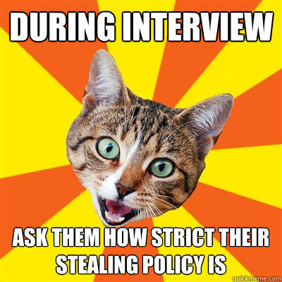 During interview ask them how strict their stealing policy is - During interview ask them how strict their stealing policy is  Bad Advice Cat